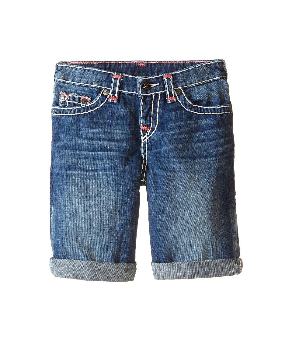 True Religion Kids - Ricky Roll Up Color Combo Super T Shorts (Toddler/Little Kids) (Vintage Blue) Boy's Shorts