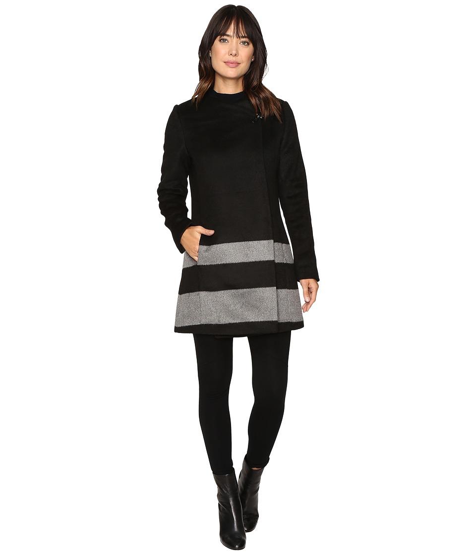 LAUREN Ralph Lauren - Buckle Front Stripe (Black/Double Face Grey) Women's Coat