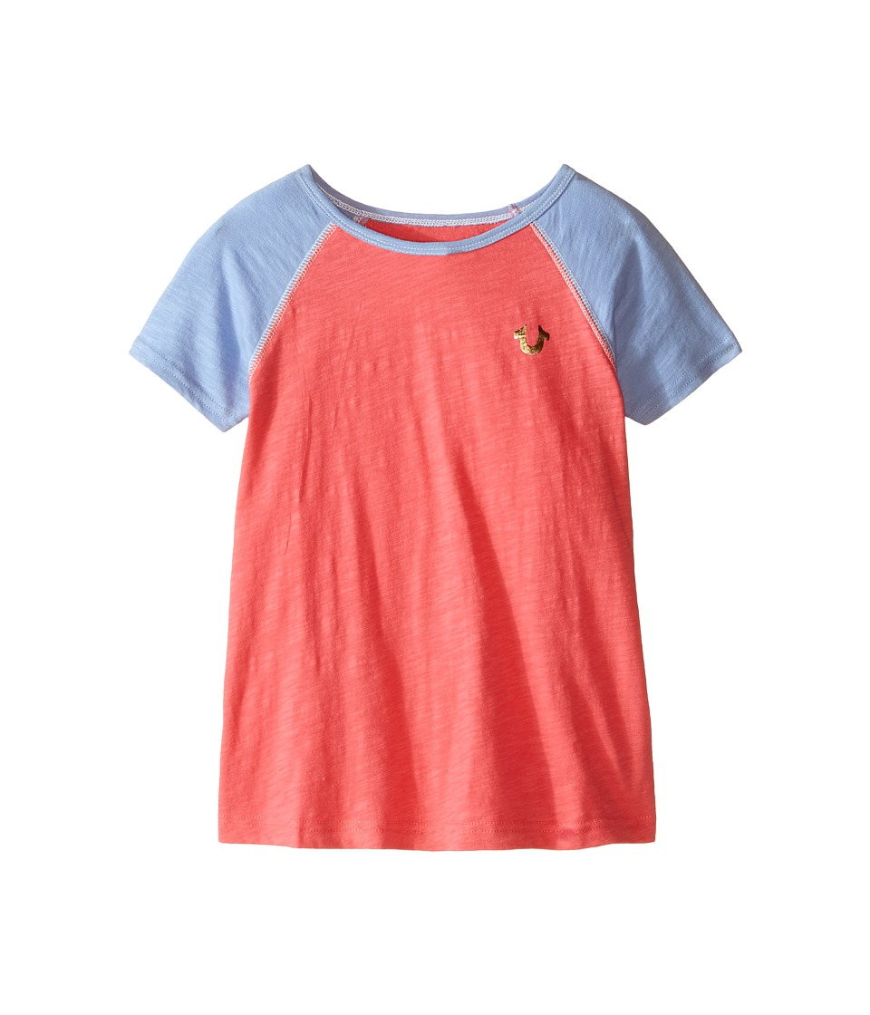 True Religion Kids Branded Logo Color Block Tee (Toddler/Little Kids) (Coral) Girl