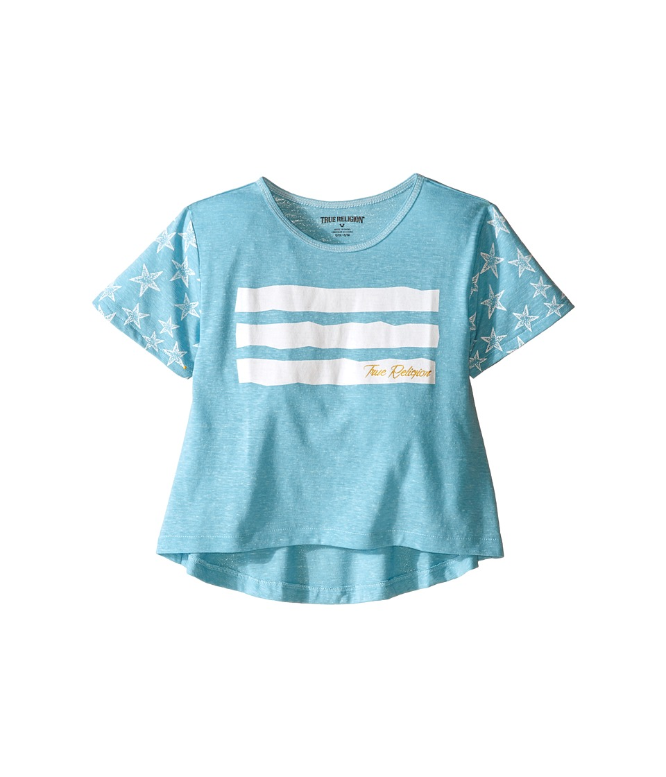 True Religion Kids Stars Stripes Drape Tee (Toddler/Little Kids) (Mint) Girl