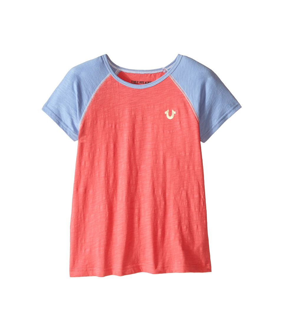 True Religion Kids Branded Logo Color Block Tee (Little Kids/Big Kids) (Coral) Girl