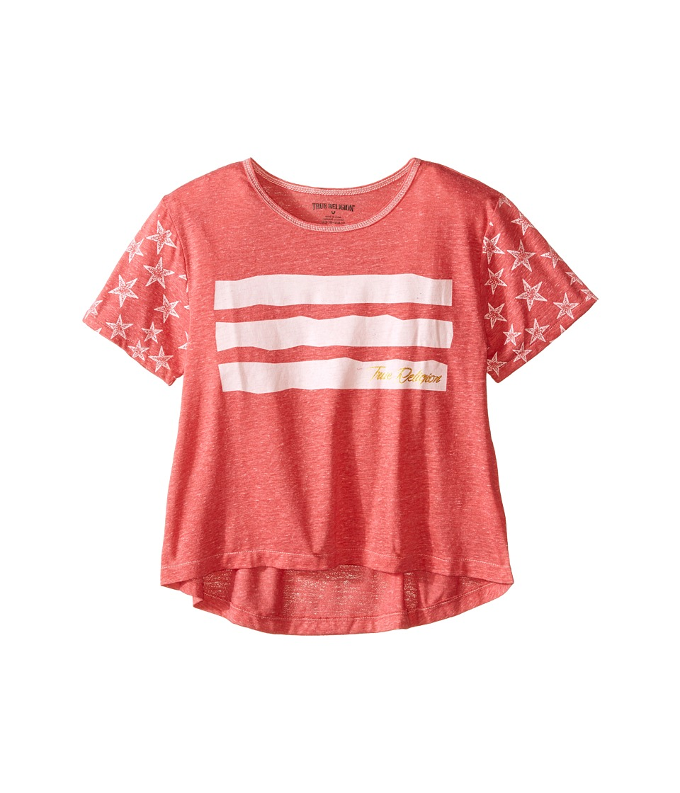 True Religion Kids Stars Stripes Drape Tee (Little Kids/Big Kids) (Coral Heather) Girl
