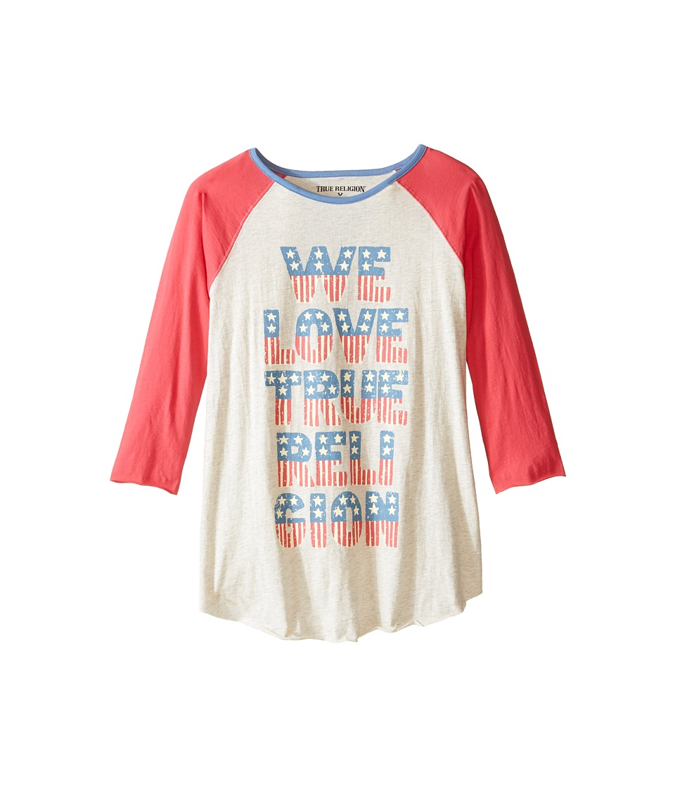 True Religion Kids - We Love True Religion Football Tee (Little Kids/Big Kids) (Oatmeal Heather) Girl's T Shirt