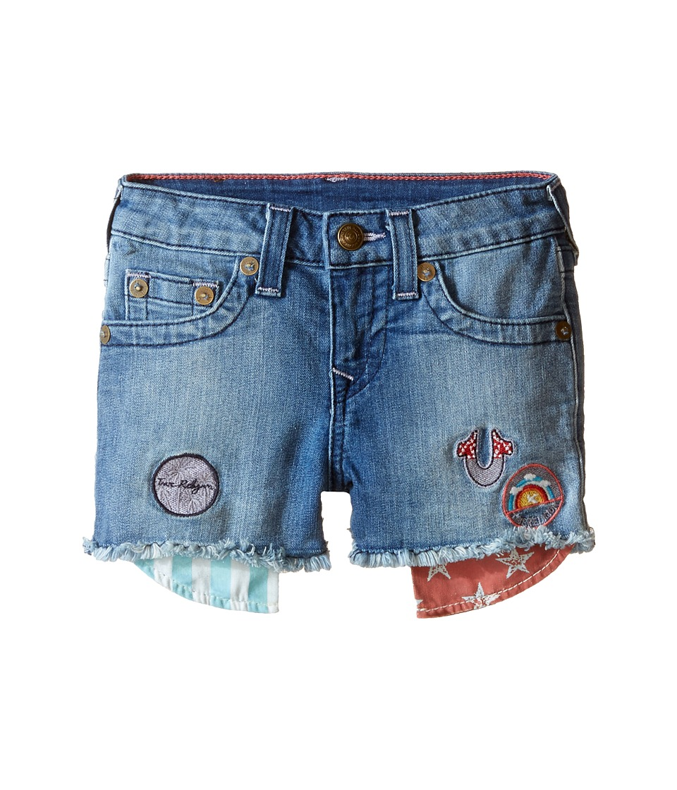 True Religion Kids - Patched Casey Single End Shorts (Toddler/Little Kids) (Glass Blue) Girl's Shorts