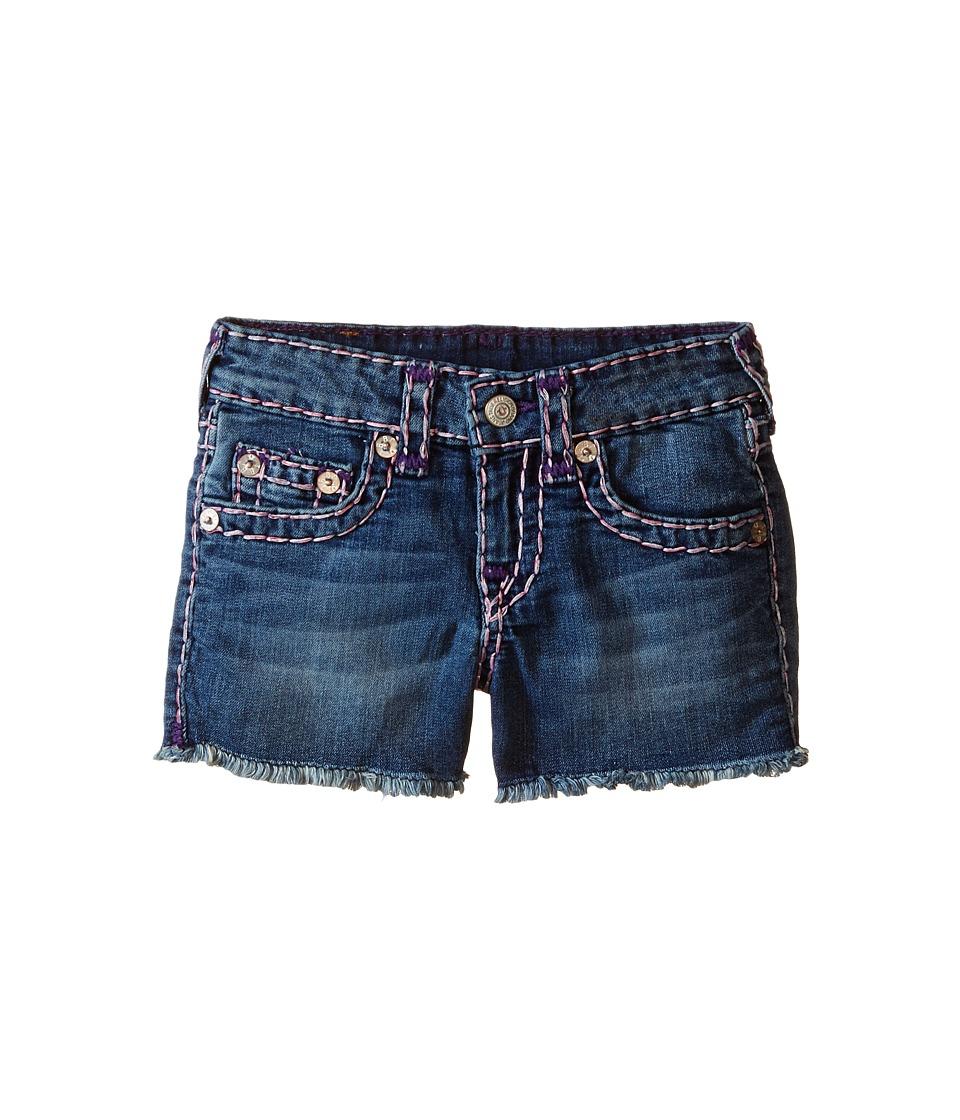 True Religion Kids - Bobby Raw Edge Color Combo Super T Shorts (Toddler/Little Kids) (Skyline) Girl's Shorts