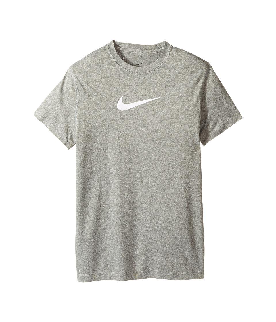 Nike Kids - Legend S/S Top (Little Kids/Big Kids) (Dark Grey Heather/White) Girl's T Shirt