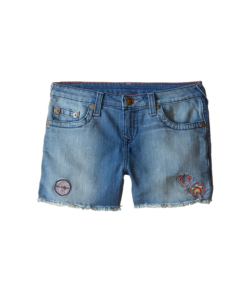 True Religion Kids - Patched Casey Single End Shorts (Big Kids) (Glass Blue) Girl's Shorts