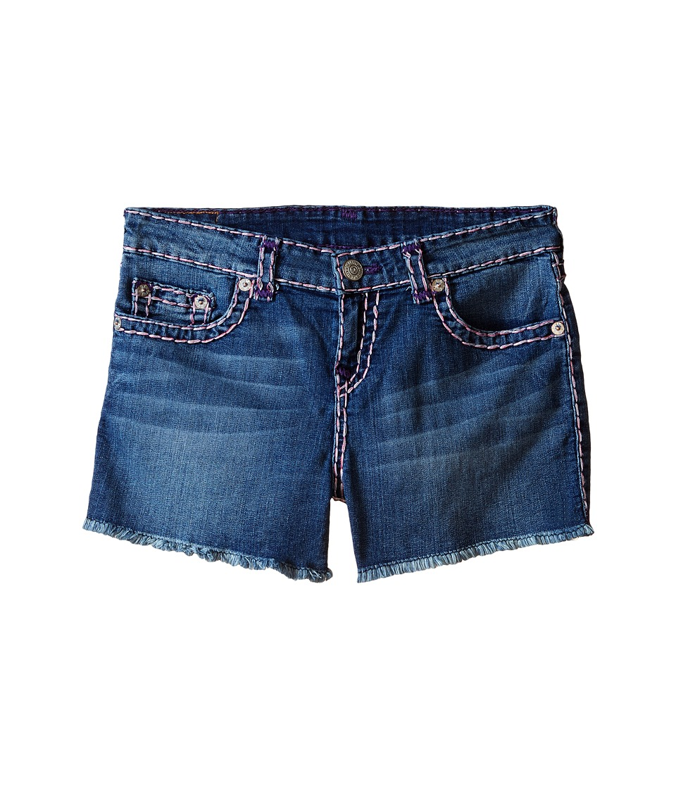 True Religion Kids - Bobby Raw Edge Color Combo Super T Shorts (Big Kids) (Skyline) Girl's Shorts