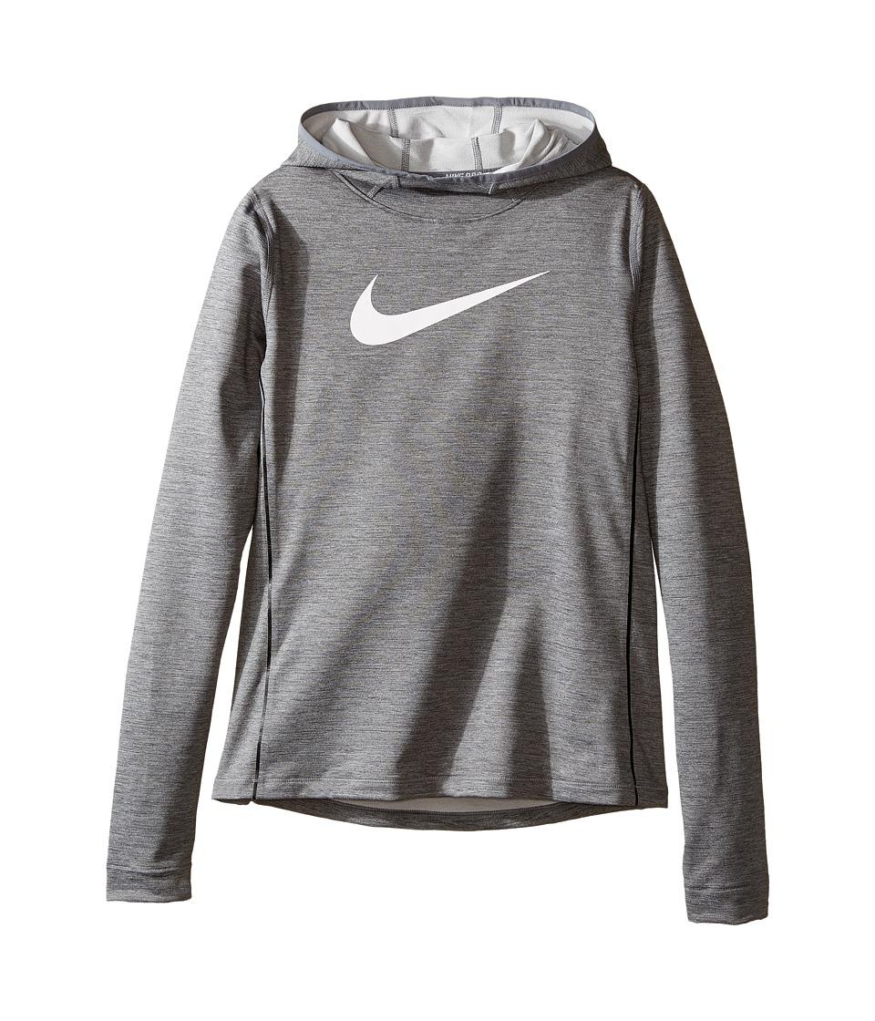 Nike Kids - Pro Hyperwarm Pullover Hoodie (Little Kids/Big Kids) (Dark Grey Heather/Cool Grey/White) Girl's Sweatshirt