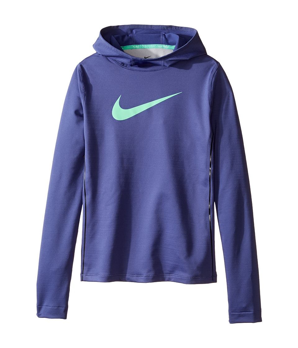 Nike Kids - Pro Hyperwarm Pullover Hoodie (Little Kids/Big Kids) (Dark Purple Dust/Dark Purple Dust/Green Glow) Girl's Sweatshirt