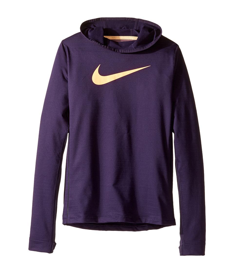 Nike Kids - Pro Hyperwarm Pullover Hoodie (Little Kids/Big Kids) (Purple Dynasty/Peach Cream) Girl's Sweatshirt