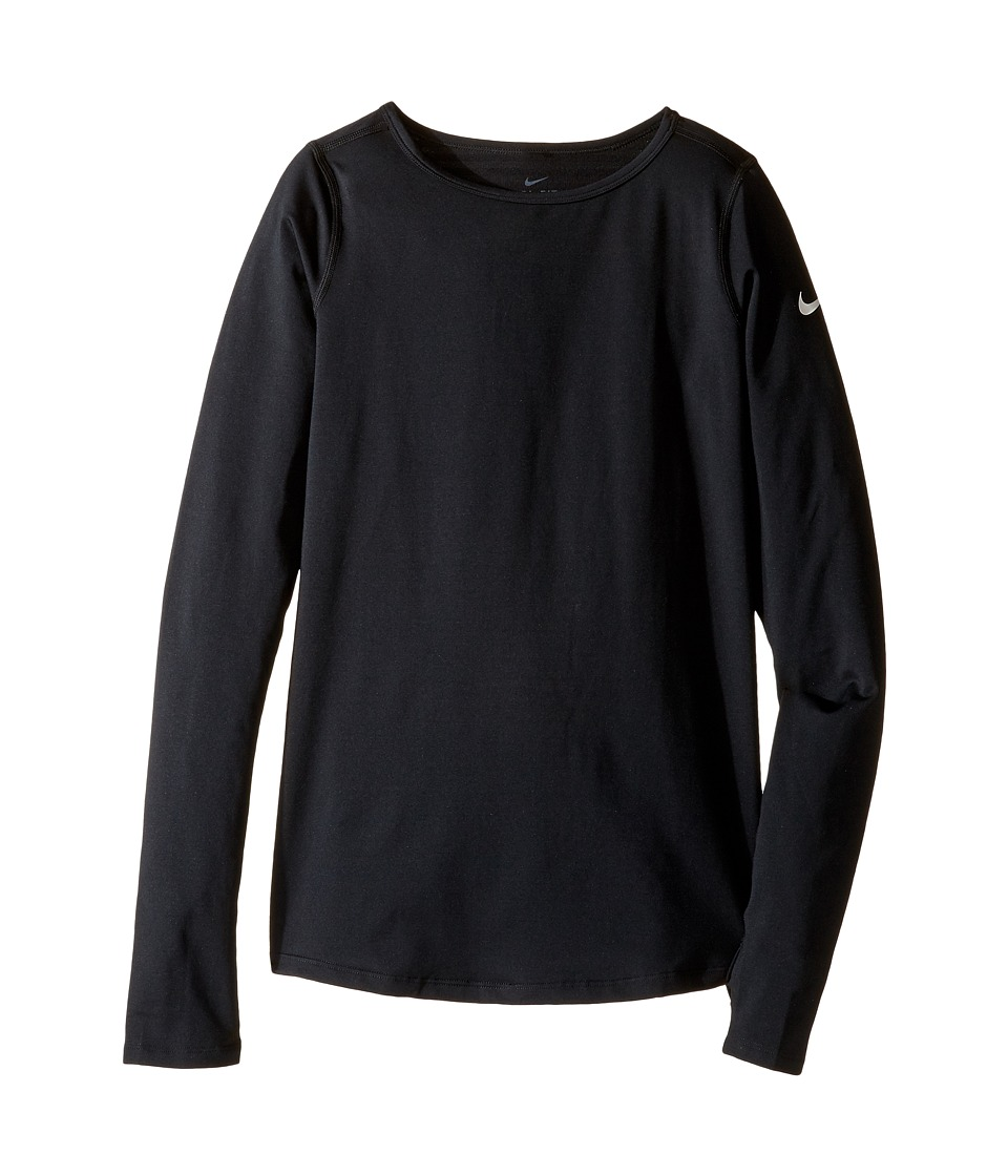 Nike Kids - Pro Warm Long Sleeve Training Top (Little Kids/Big Kids) (Black/White) Girl's Clothing