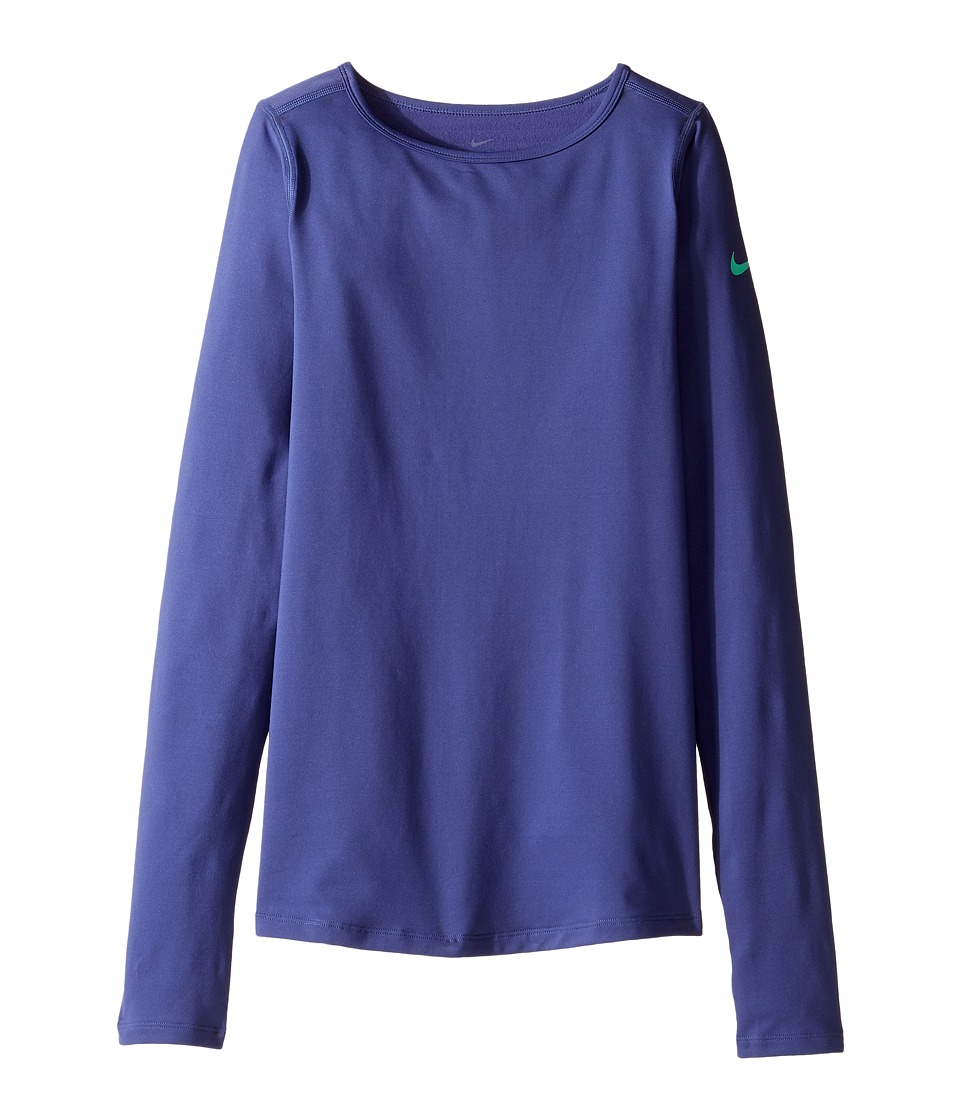 Nike Kids - Pro Warm Long Sleeve Training Top (Little Kids/Big Kids) (Dark Purple Dust/Green Glow) Girl's Clothing