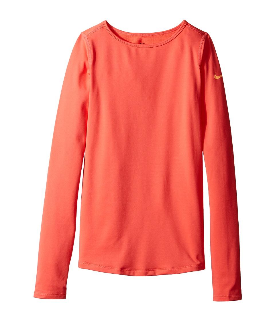 Nike Kids - Pro Warm Long Sleeve Training Top (Little Kids/Big Kids) (Ember Glow/Peach Cream) Girl's Clothing