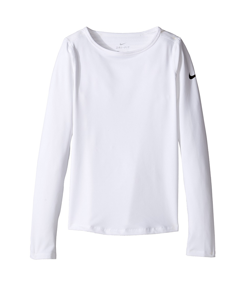 Nike Kids - Pro Warm Long Sleeve Training Top (Little Kids/Big Kids) (White/Black) Girl's Clothing