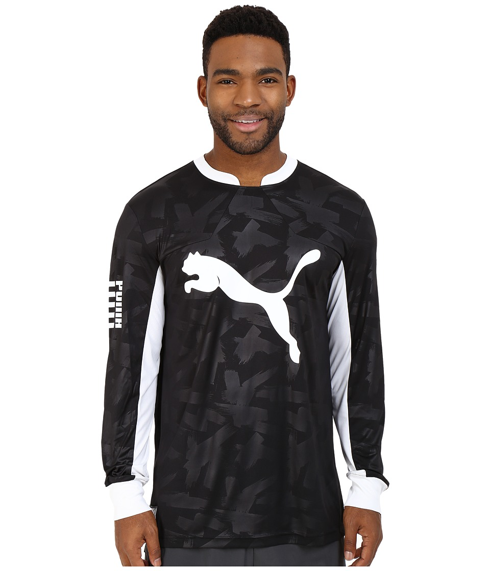 PUMA - Long Sleeve Sideline Jersey (Black/White) Men's Long Sleeve Pullover