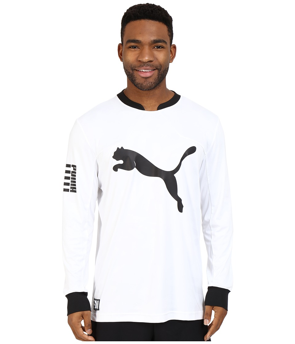 PUMA - Long Sleeve Sideline Jersey (White/Black) Men's Long Sleeve Pullover