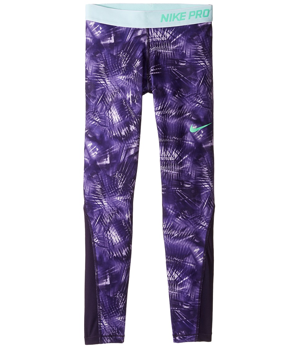 Nike Kids - Pro Cool Tight AOP1 (Little Kids/Big Kids) (Purple Dynasty/Purple Dynasty/Green Glow) Girl's Casual Pants