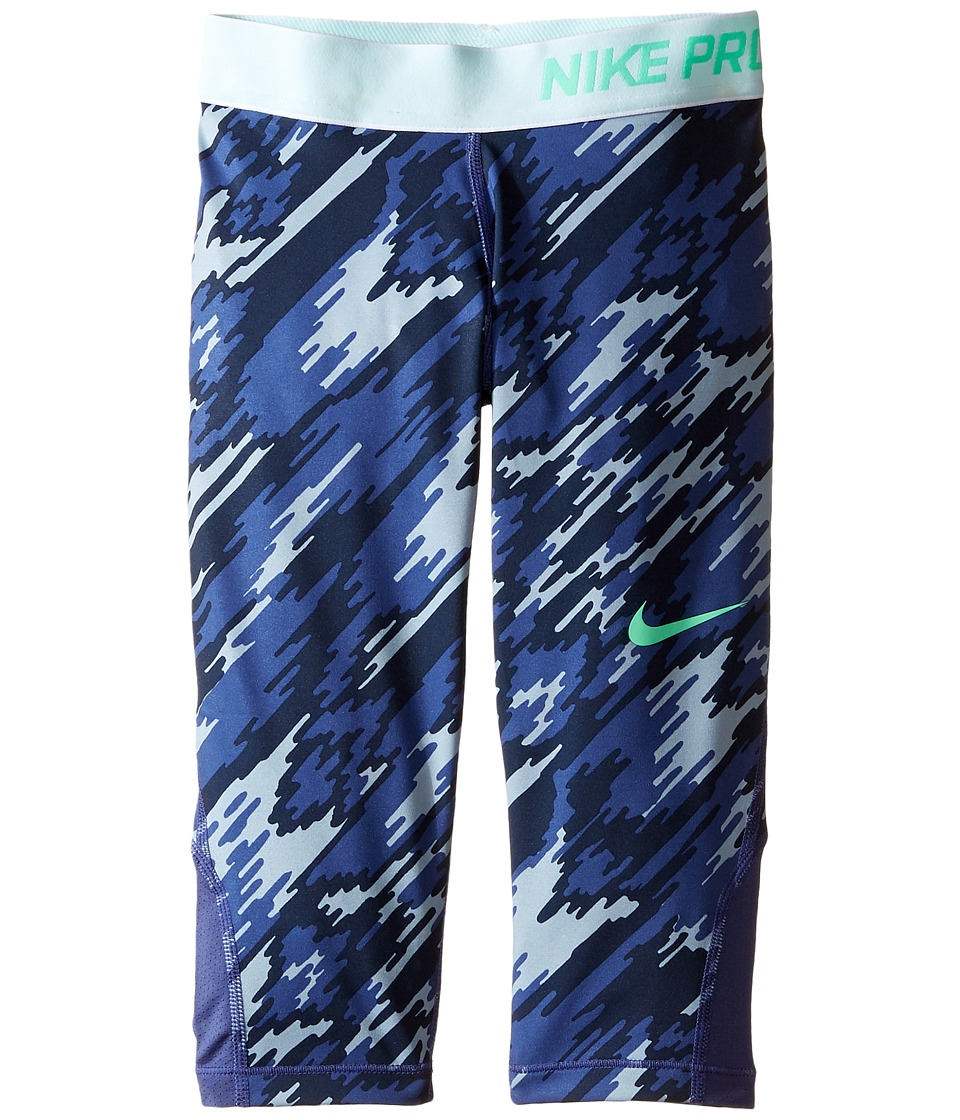 Nike Kids - Pro Cool Printed Training Capri (Little Kids/Big Kids) (Dark Purple Dust/Dark Purple Dust/Green Glow) Girl's Casual Pants