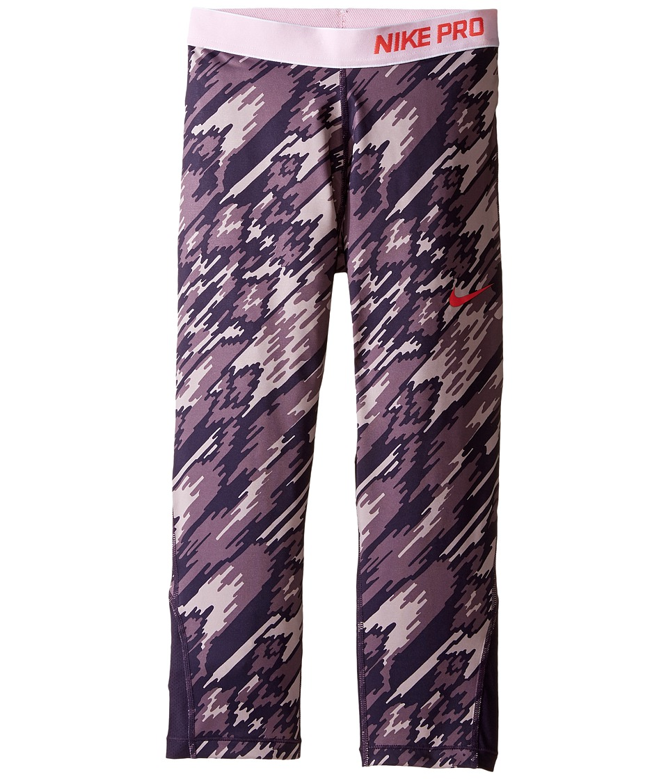 Nike Kids - Pro Cool Printed Training Capri (Little Kids/Big Kids) (Purple Dynasty/Purple Dynasty/Ember Glow) Girl's Casual Pants