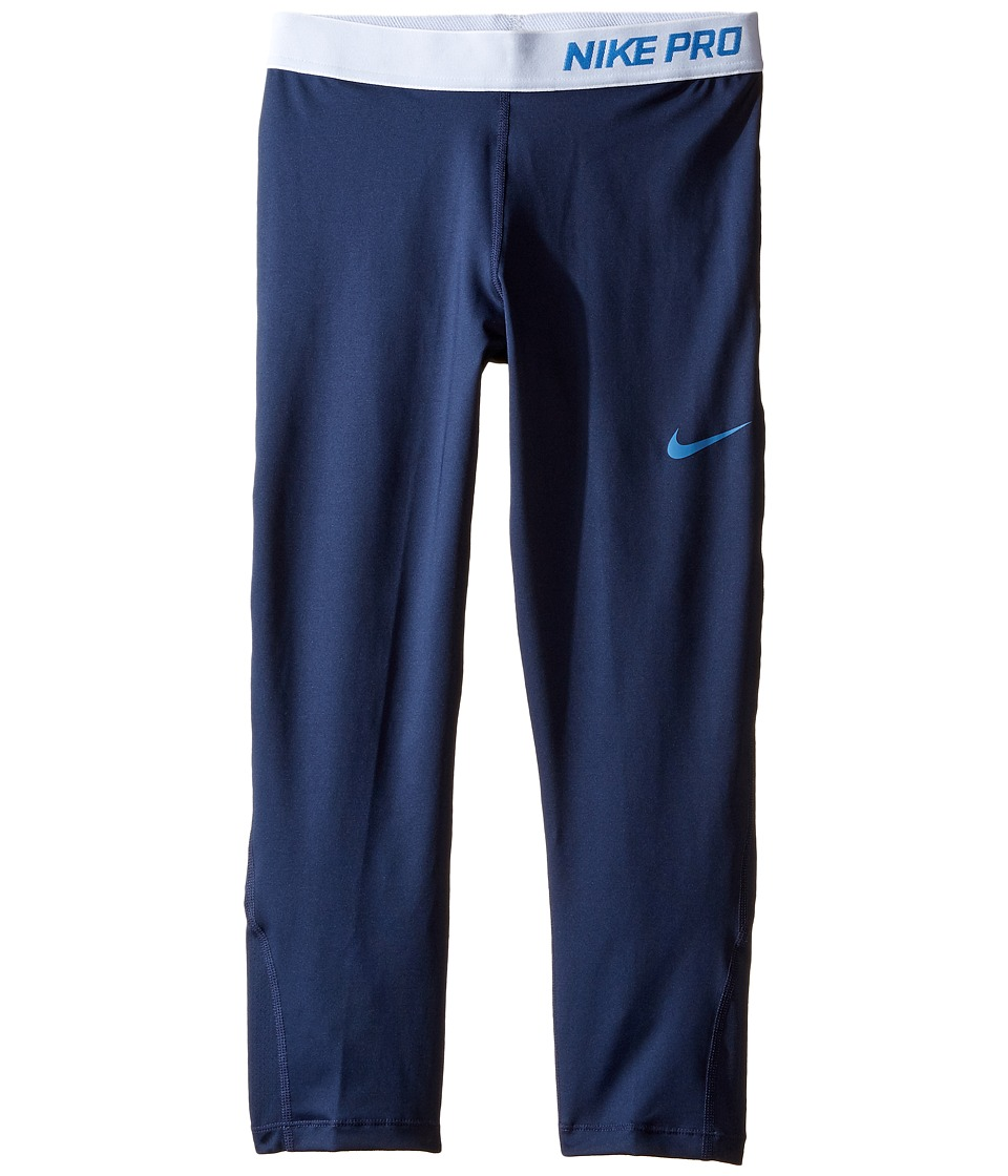 Nike Kids - Pro Cool Training Capri (Little Kids/Big Kids) (Midnight Navy/Midnight Navy/Star Blue) Girl's Casual Pants