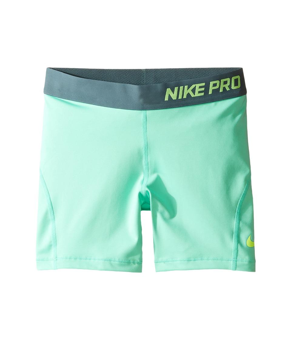 Nike Kids - Pro Cool 4 Training Short (Little Kid/Big Kid) (Green Glow/Hasta/Volt) Girl's Shorts