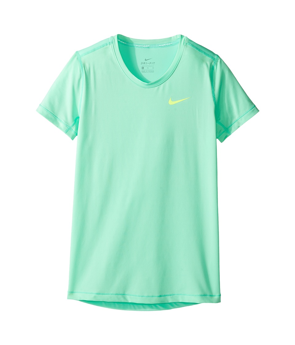 Nike Kids - Pro Cool Short Sleeve Training Top (Little Kids/Big Kids) (Green Glow/Green Glow/Volt) Girl's Clothing
