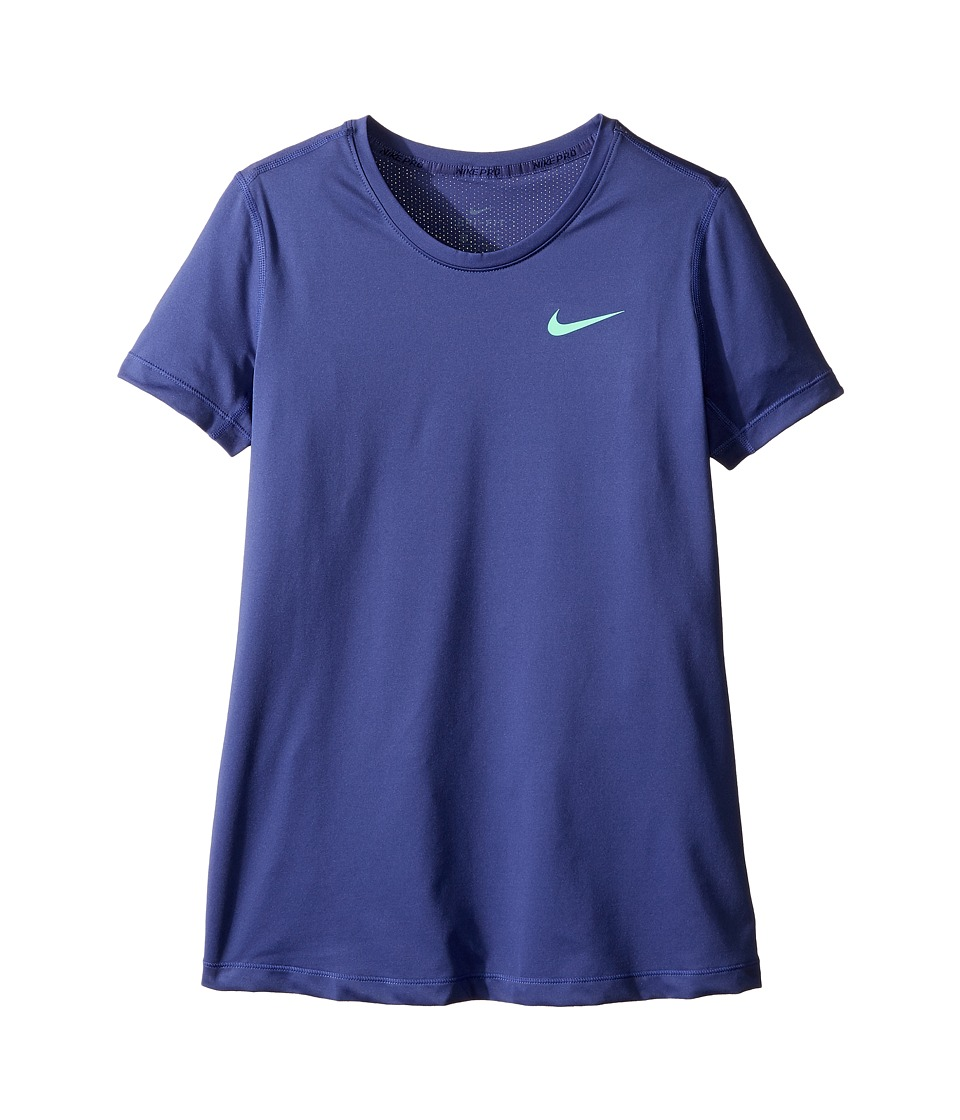 Nike Kids - Pro Cool Short Sleeve Training Top (Little Kids/Big Kids) (Dark Purple Dust/Dark Purple Dust/Green Glow) Girl's Clothing