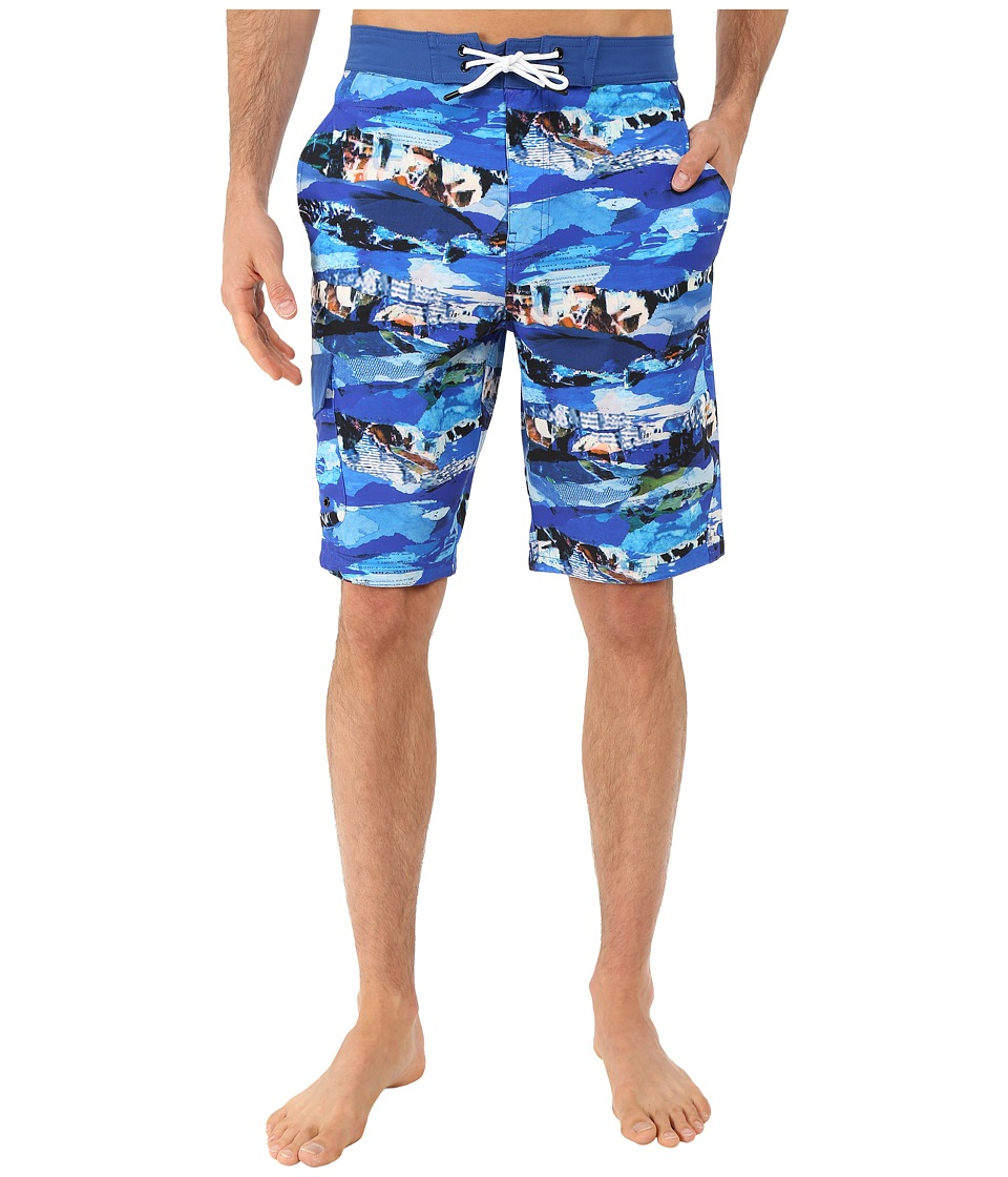 Rainforest - Wave Torrent Boardshorts in Stretch Oxford (Blue) Men's Swimwear