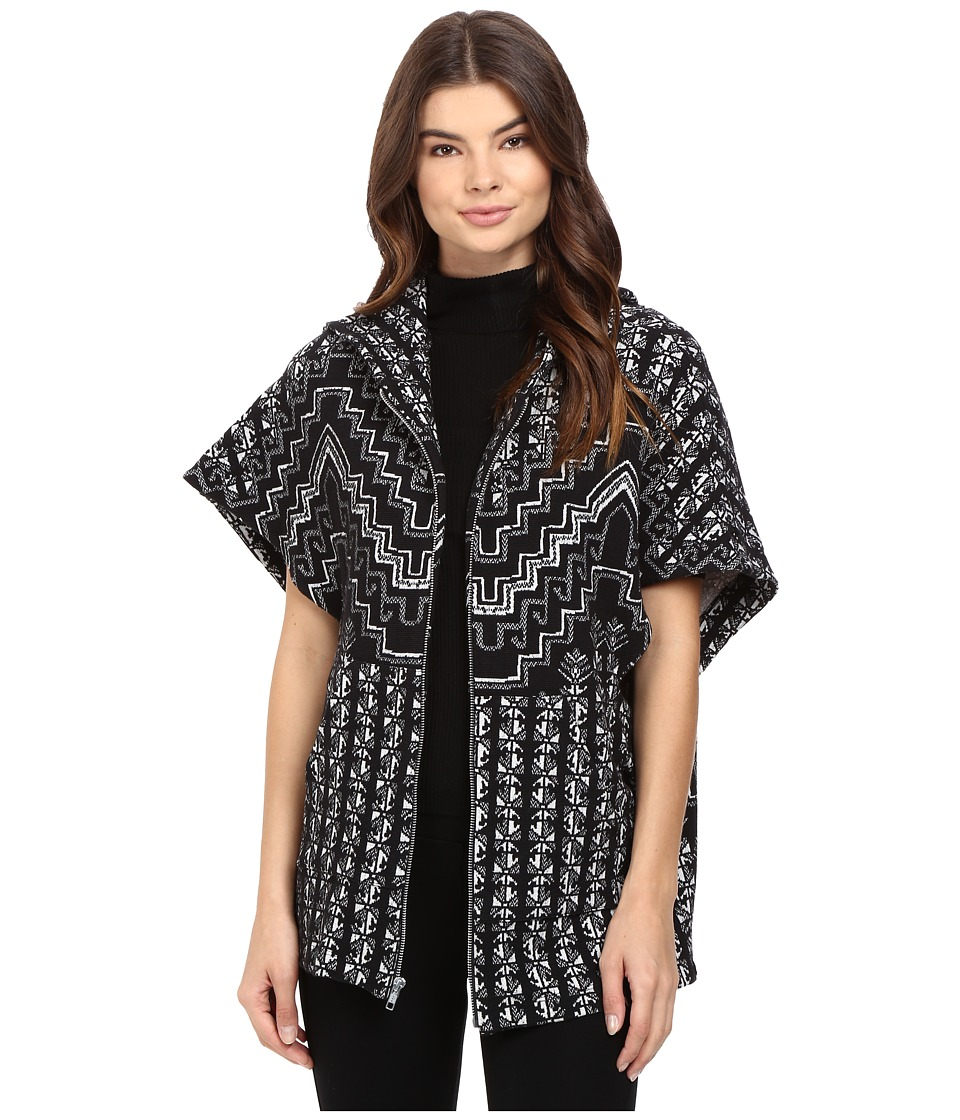 Mara Hoffman - Rugs Jacquard Cape (Black/Cream) Women's Sweater