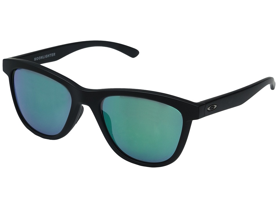 Oakley - Moonlighter (Matte Black w/ Jade Iridium Polarized) Plastic Frame Fashion Sunglasses