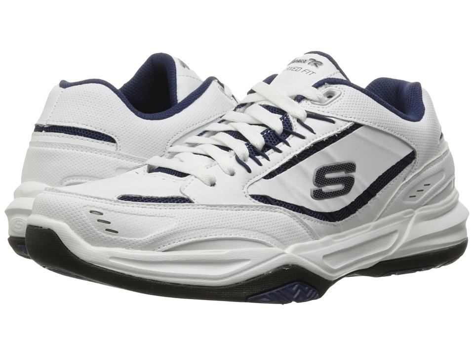 SKECHERS - Monaco TR (White/Navy) Men's Lace up casual Shoes