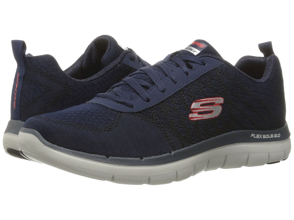 SKECHERS - Flex Advantage 2.0 Golden Point (Navy/Red) Men's Lace up casual Shoes