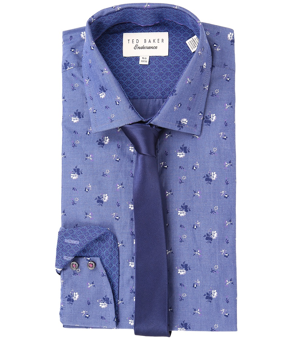 Ted Baker - Malonne Dress Shirt (Blue) Men's Long Sleeve Button Up