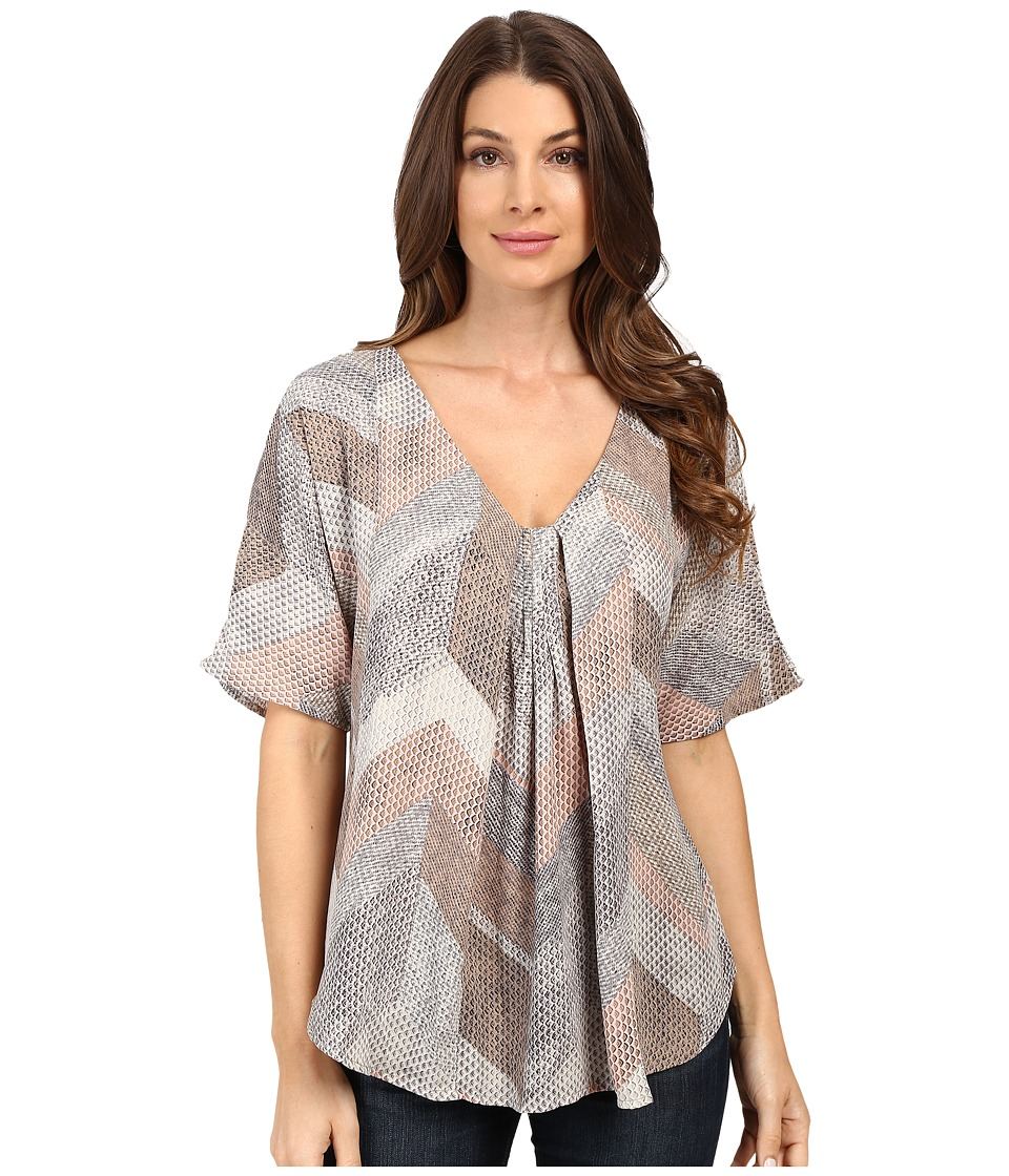 B Collection by Bobeau - Presley Front Pleat Blouse (Chevron Print) Women's Blouse