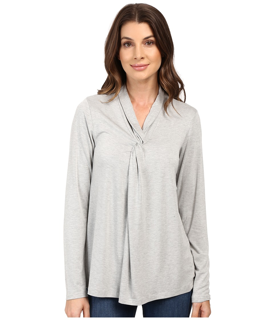 B Collection by Bobeau - Shea Front Twist Knit Top (Heather Grey) Women's Clothing