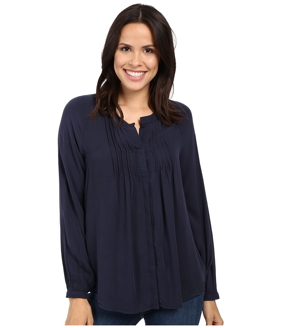 B Collection by Bobeau - Sandra Knife Pleat Blouse (Blue) Women's Blouse