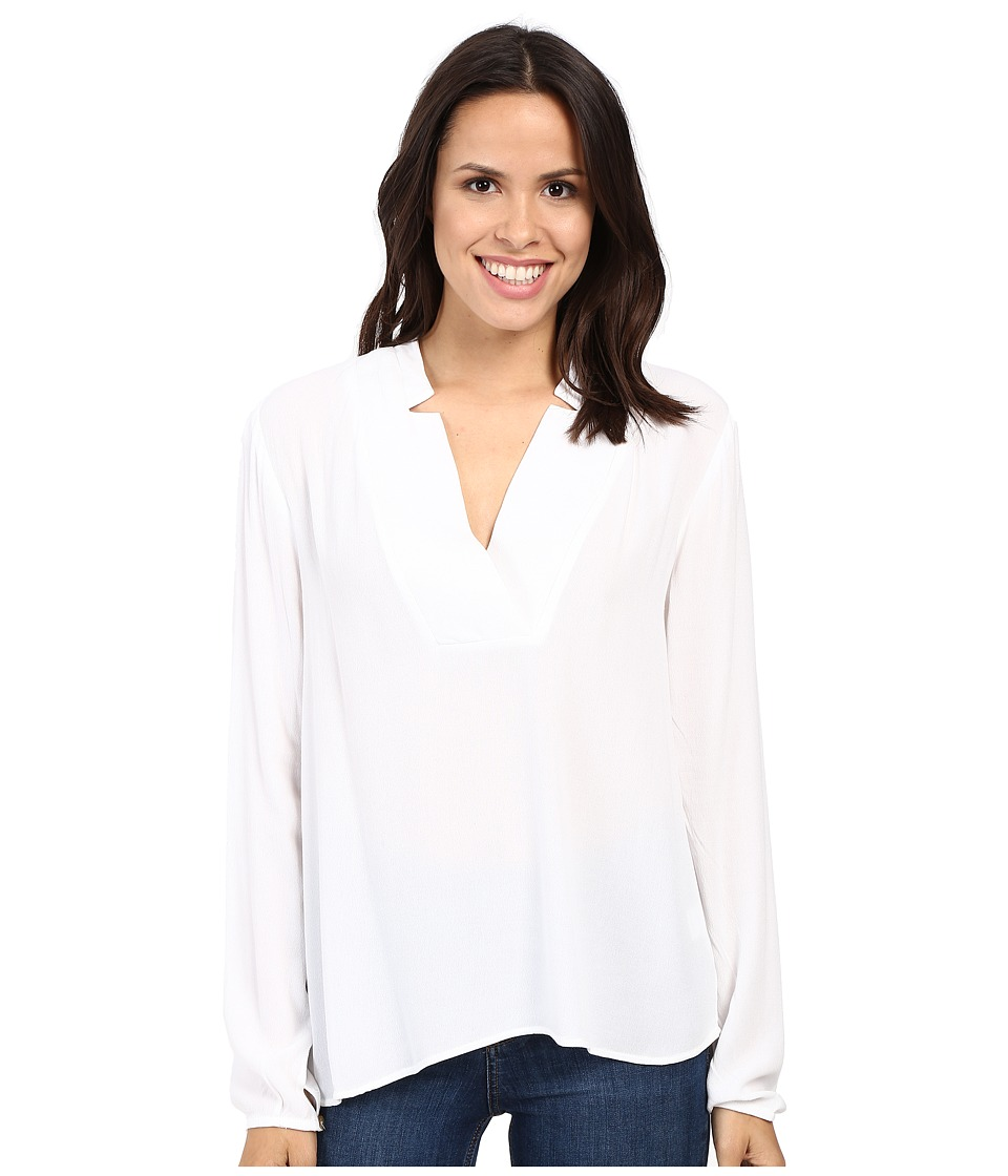 B Collection by Bobeau - Kyla Deep V Blouse (White) Women's Blouse