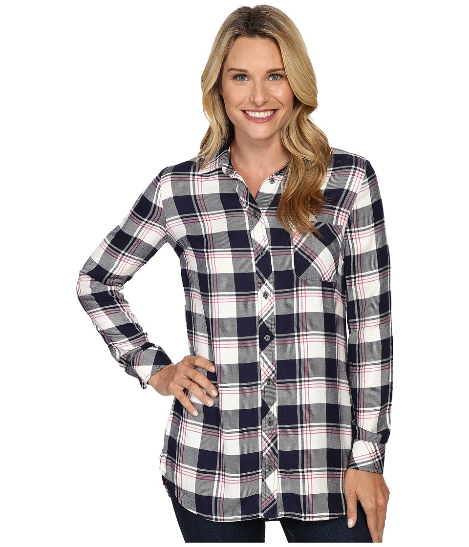 KUT from the Kloth - Collin (Navy/Pink) Women's Long Sleeve Button Up
