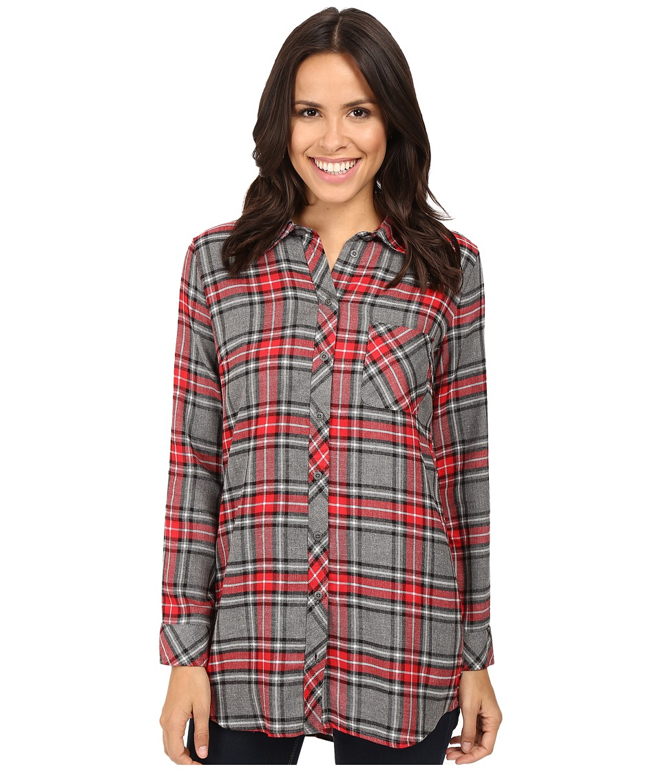 KUT from the Kloth - Collin (Grey/Red) Women's Long Sleeve Button Up