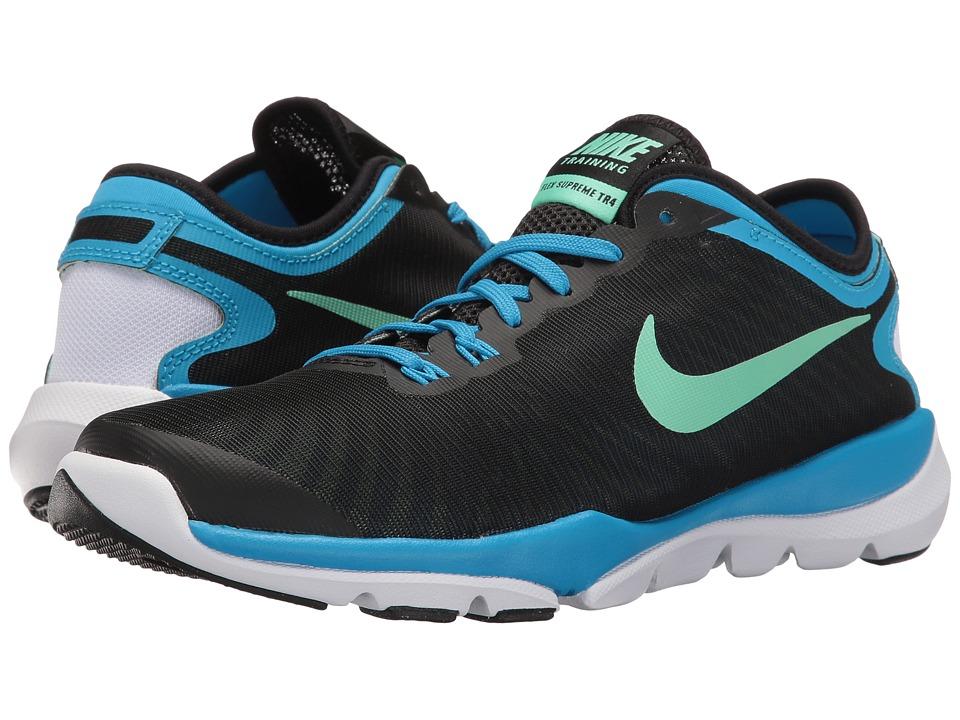 Nike - Flex Supreme TR4 (Black/Green Glow/Blue Glow/White) Women's Cross Training Shoes