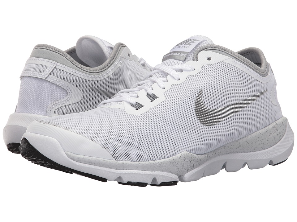Nike - Flex Supreme TR 4 HP (White/Silver Metallic/Black/Dark Grey) Women's Cross Training Shoes