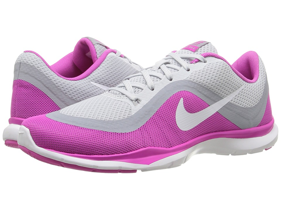 Nike - Flex Trainer 6 (Pure Platinum/White/Pink Force/Wolf Grey) Women's Cross Training Shoes