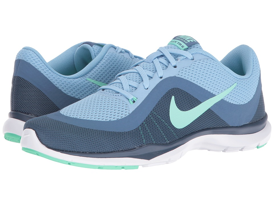 Nike - Flex Trainer 6 (Blue Cap/Green Glow/Ocean Fog/Squadron Blue) Women's Cross Training Shoes