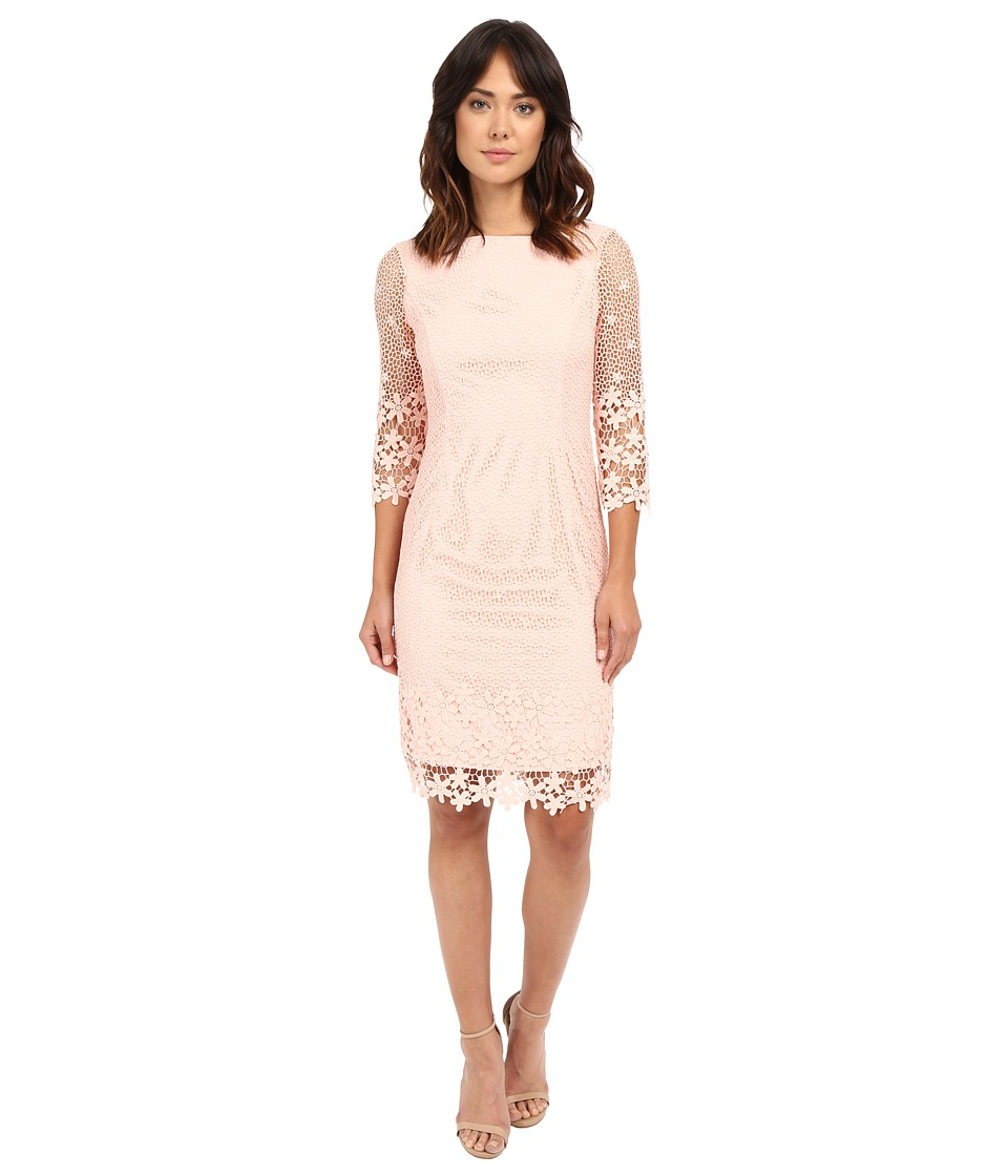 NUE by Shani - Summer Lace Dress with Crochet-Like Florals on Hem (Blush) Women's Dress