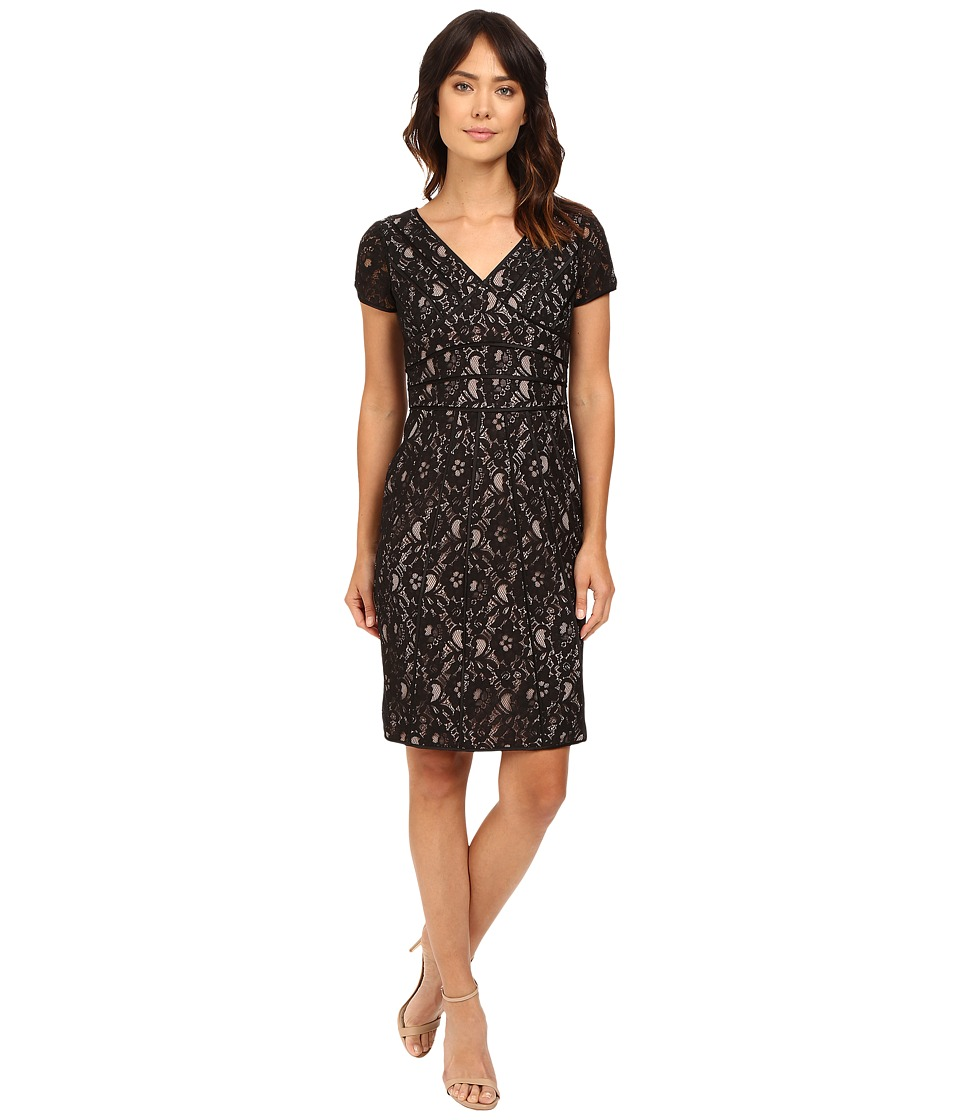 NUE by Shani V-Neck Lace Dress with Satin Piping Detail (Black/Nude) Women