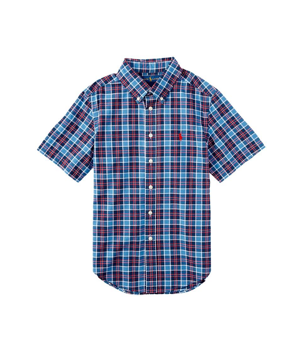 Polo Ralph Lauren Kids - Madras Short Sleeve Button Down (Big Kids) (Blue/Navy Multi) Boy's Short Sleeve Button Up