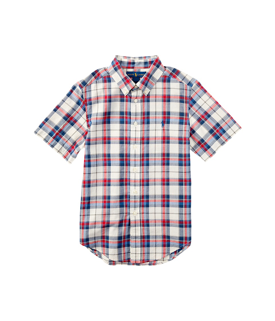 Polo Ralph Lauren Kids - Madras Short Sleeve Button Down (Big Kids) (White/Red Multi) Boy's Short Sleeve Button Up