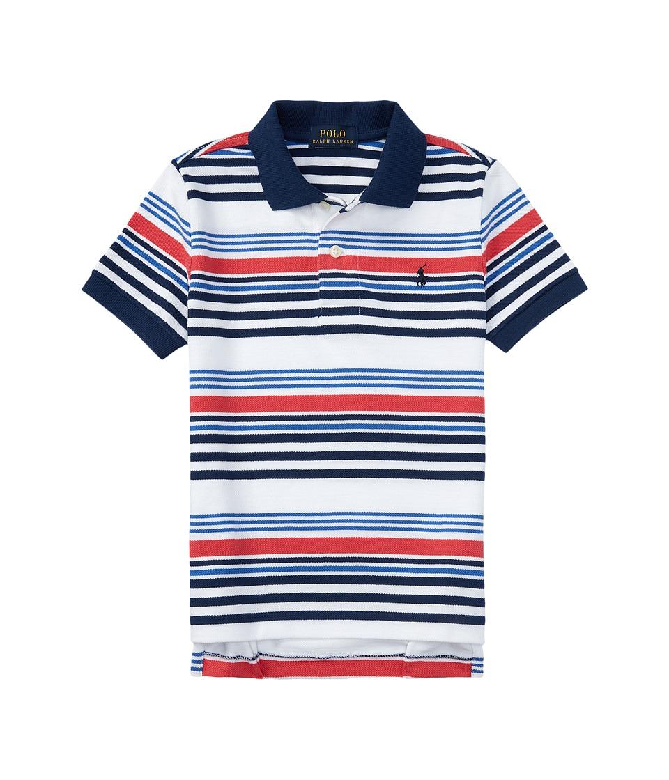 Polo Ralph Lauren Kids - Short Sleeve Knit Collar Shirt (Big Kids) (Classic Oxford White Multi) Boy's Short Sleeve Pullover