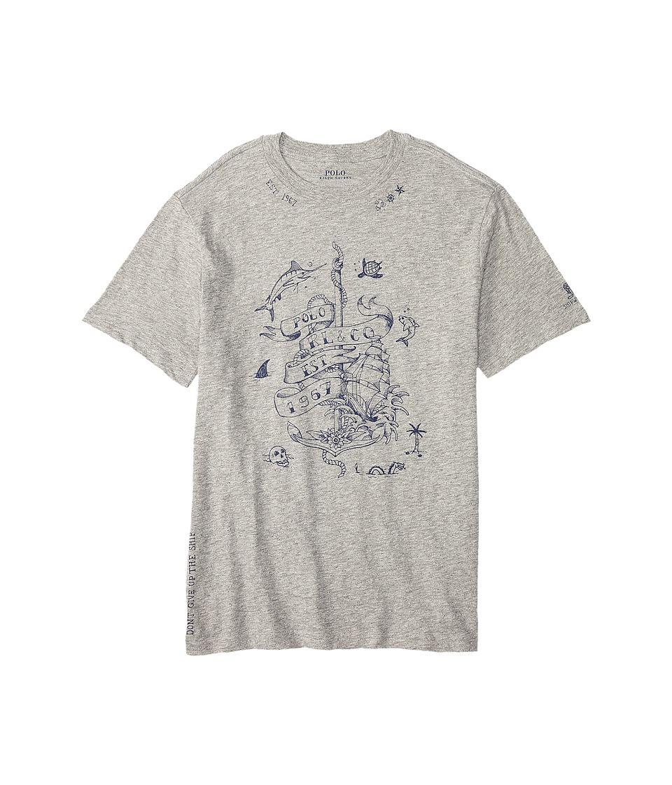 Polo Ralph Lauren Kids - Graphic Crew Neck T-Shirt (Big Kids) (Surfer Grey Heather) Boy's T Shirt
